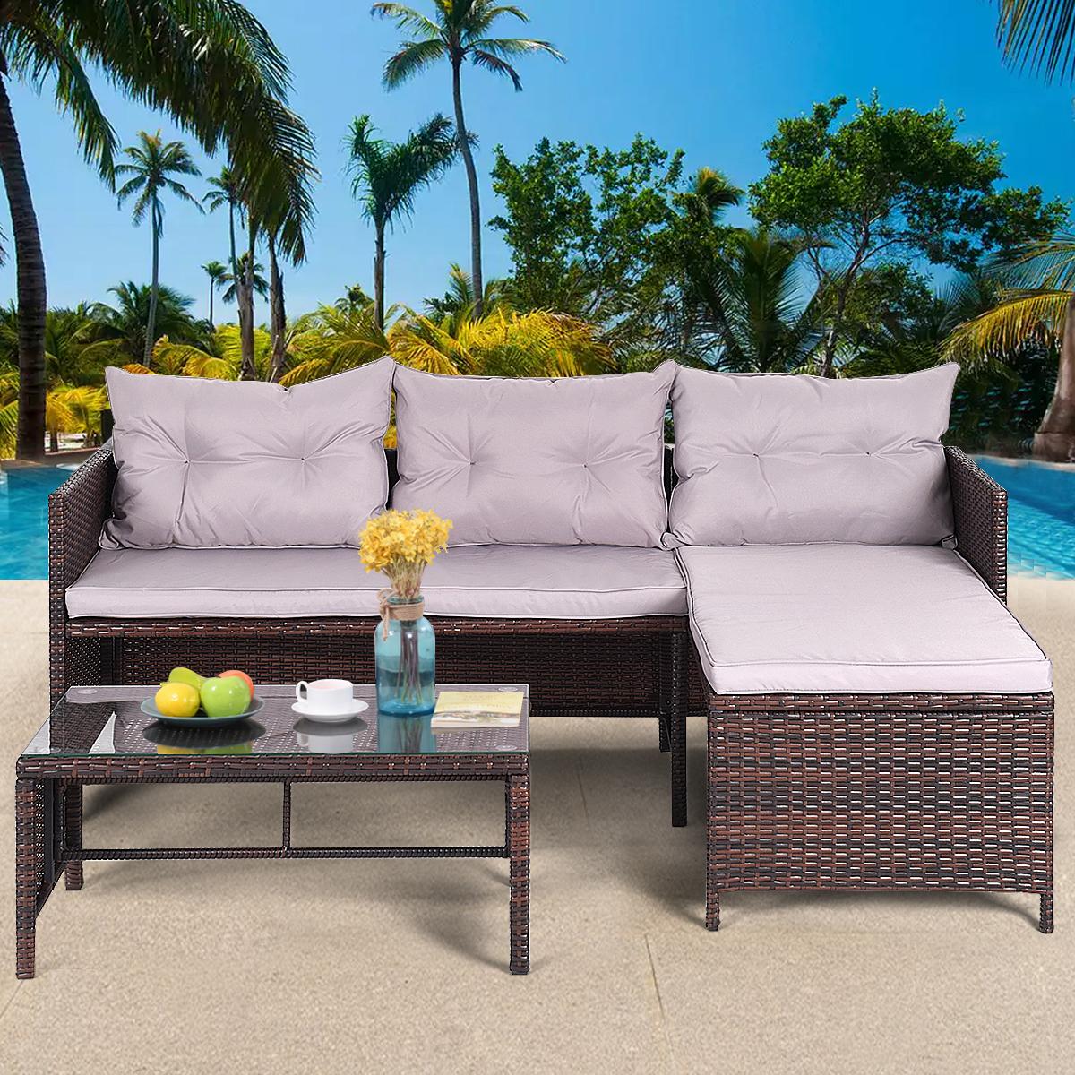 Gymax 3PC Rattan Furniture Sofa Lounge Chaise Set Outdoor Patio Garden