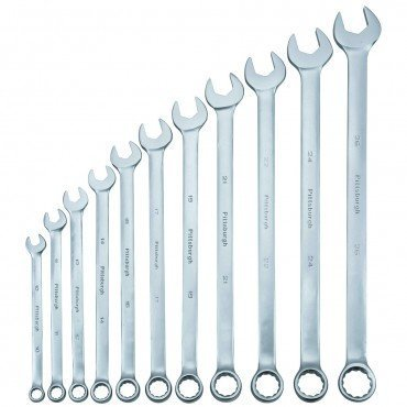 METRIC Handle Combination Wrench Set 11 Piece, 15 degree angle on open ended wrench side By Pittsburgh 15 Degree Adjustable Wrenches