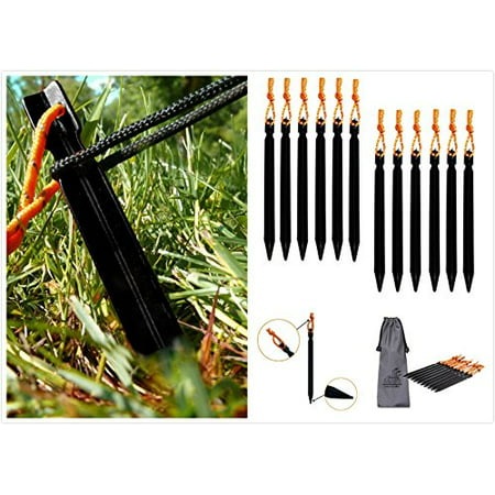 Aluminum 12 Volt Outdoor Step - (Pack of 12) Aluminum Tent Stakes Pegs, MINI-FACTORY Outdoor Camping 7