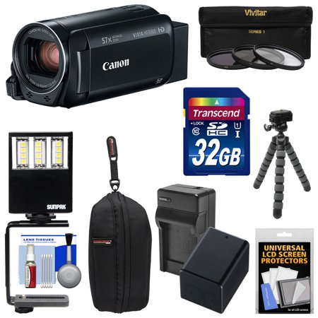 Canon Vixia HF R800 1080p HD Video Camera Camcorder (Black) with 32GB Card + Battery & Charger + Case + 3 Filters + LED Light + Tripod Kit