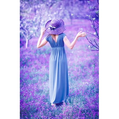 Dreamy, Fine Art Photo of Seductive Woman in Fairy Garden, Romantic Girl in Elegant Long Dress on P Print Wall Art By Anna Omelchenko