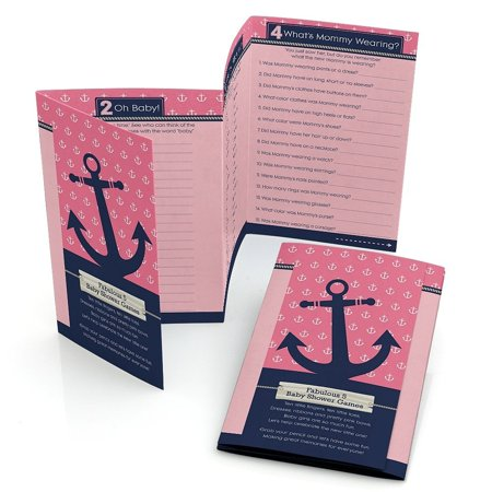 Ahoy - Nautical Girl - Baby Shower Games Pack - 5 Games in 1 - Fabulous 5 - Set of 12