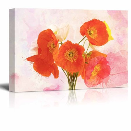 Wall26 Canvas Wall Art Red Poppy Flowers On Watercolor Style Background Gallery Wrap Modern Home Decor Ready To Hang 16x24 Inches