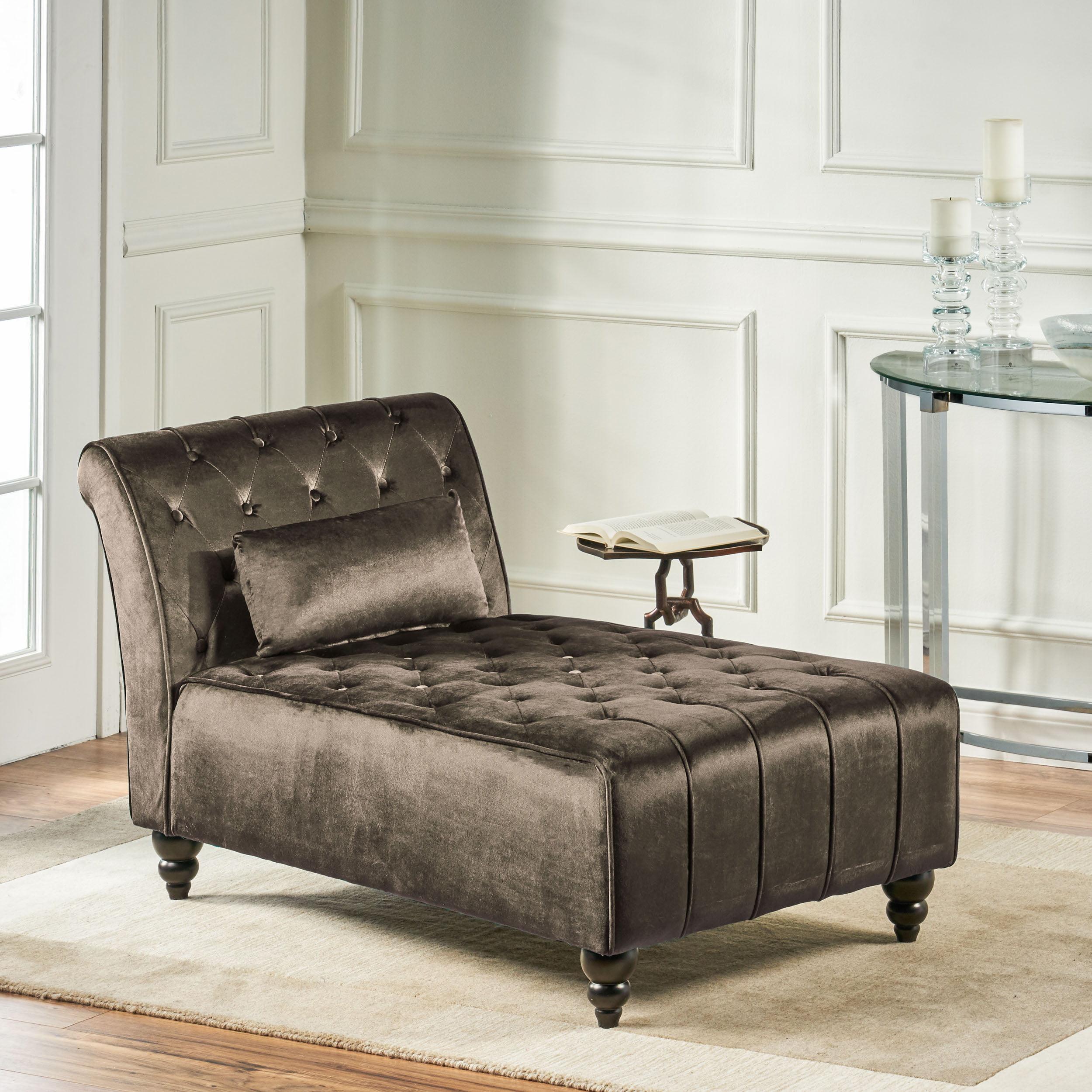 Rafaela Modern Glam Tufted Velvet Chaise Lounge With Scrolled Backrest Gray And Dark Brown Walmart Com Walmart Com