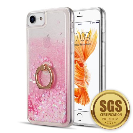 Sparkling Back Cover Case - Apple iPhone 8, iPhone 7, iPhone 6s /6 Phone Case Hybrid Glitter Luxury Bling Sparkling Liquid Quicksand Sparkle TPU Rubber Hard PC Back + Ring Holder Kickstand Cover PINK for iPhone 8 /7 / 6 /6S