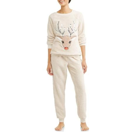 Jamber Set - Jammers Women's and Women's Plus Reindeer Plush Twosies Set