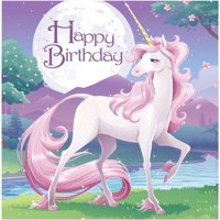 "Club Pack of 192 Unicorn Fantasy Princess ""Happy Birthday"" Disposable Luncheon Napkins 6.5"""