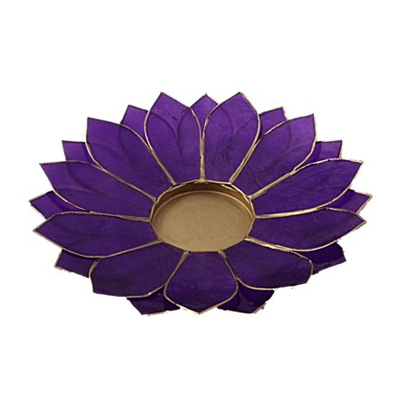 The Crabby Nook Lotus Candle Holder Capiz Shell Flat 2 Layer Decorating Accent Home Decor Gift Ideas, Purple