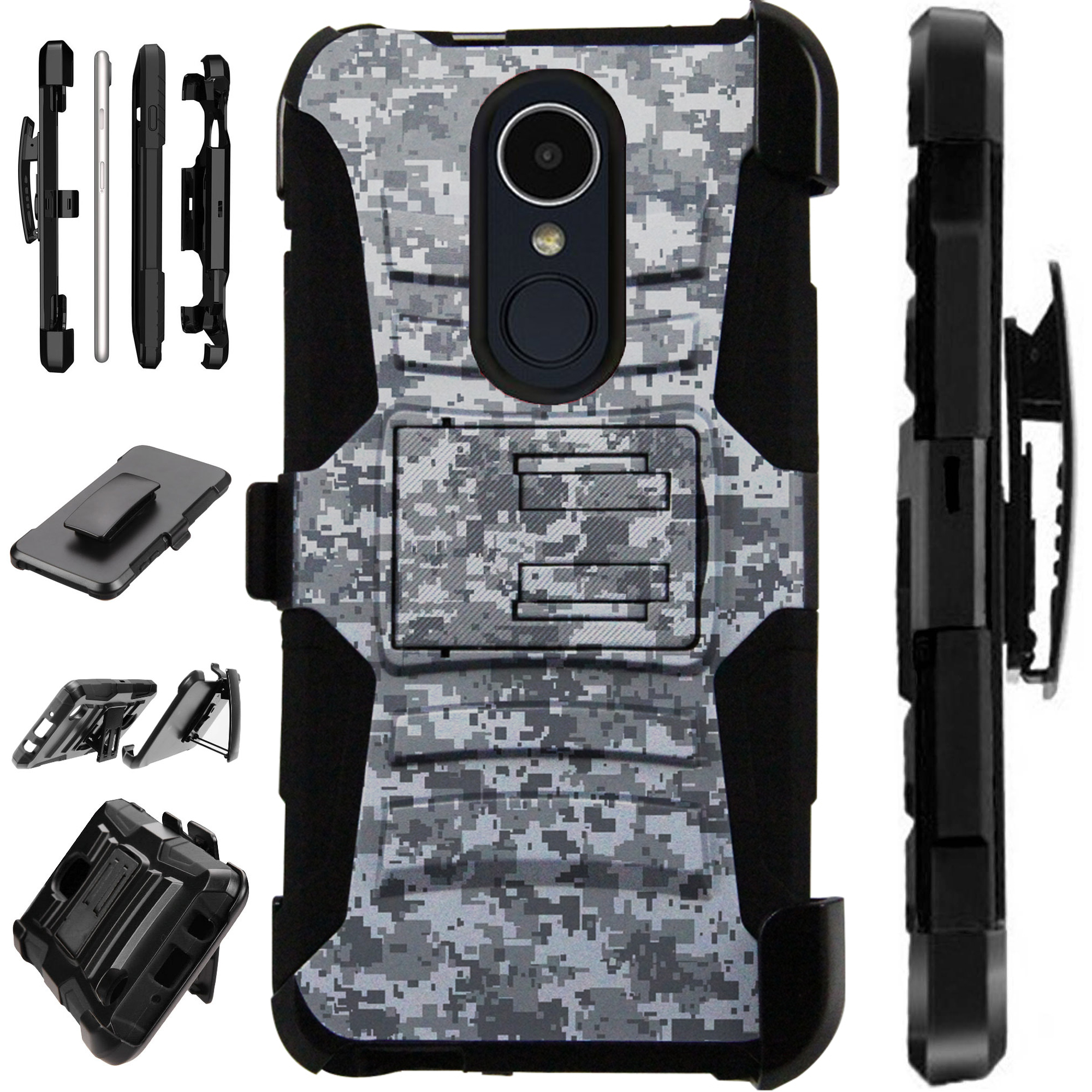 For LG Xpression Plus (2018) Case Armor Hybrid Silicone Cover Stand LuxGuard Holster (Digital Camo Gray)