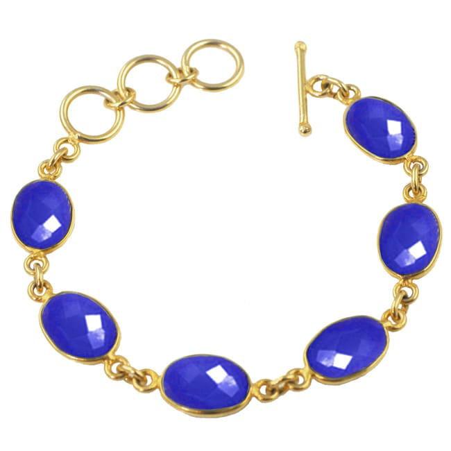 Sacred Jewels Alchemy Jewelry Gold Overlay Blue Chalcedony Oval Gemstone Bracelet by Overstock