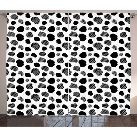 Cow Print Curtains 2 Panels Set Black And White Striped Dots With Abstract Style Farm Animal