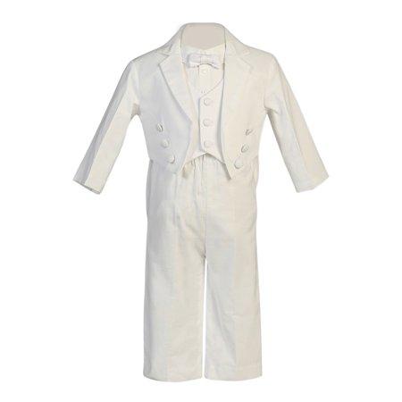Pique Tuxedo (Baby Boys White Pique Vest Cotton Baptism Special Occasion Tuxedo 3-6M)