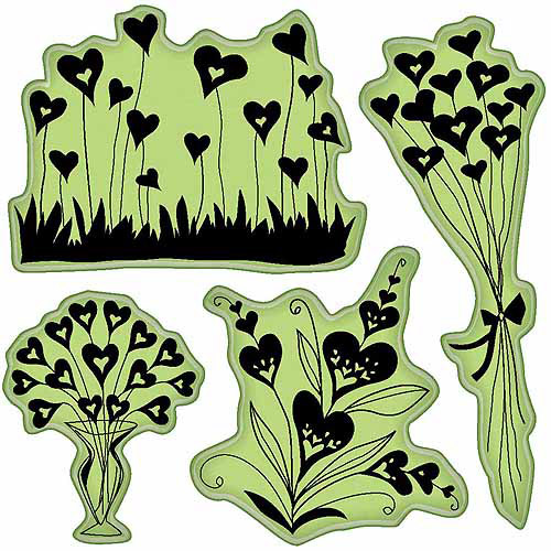 Inkadinkado Valentine Cling Stamps 4 Inch X 4 Inch Sheet-Hearts Sh