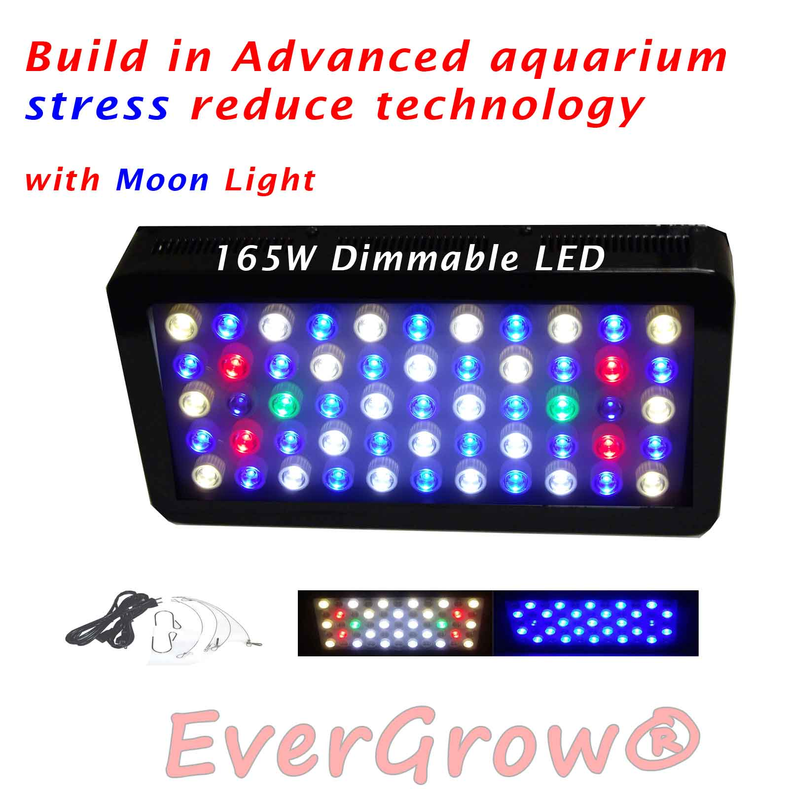EVERGROW Dimmable 165W LED Aquarium Light Full Spectrum for Grow Coral Reef Fish Tank (LED-FT-165W-D-COLOR) by