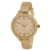 Caravelle 44L132 Women's Crystal New York Rose Gold Dial Leather Strap Watch