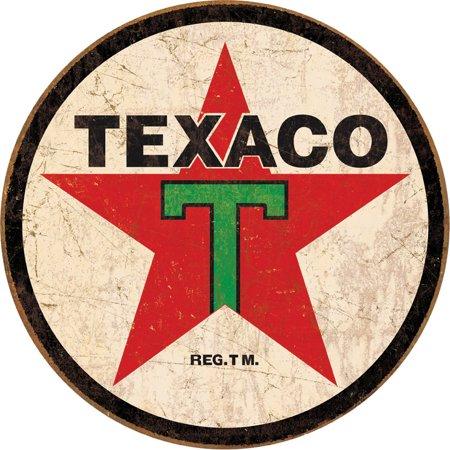 Texaco '36 Logo Round Distressed Retro Vintage Tin Sign Multi-Colored