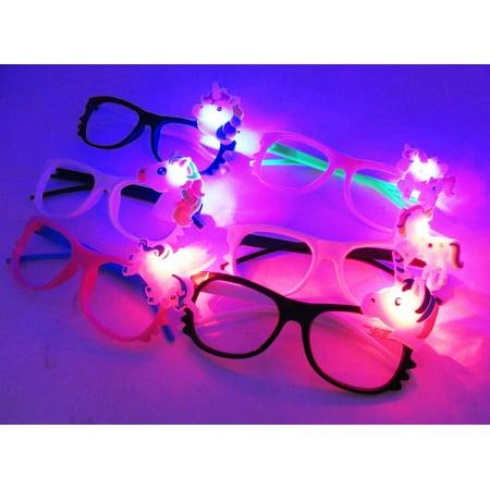 12/pk Flashing Lensless Assorted Unicorn Glasses LED SunGlasses Rave Party Wear