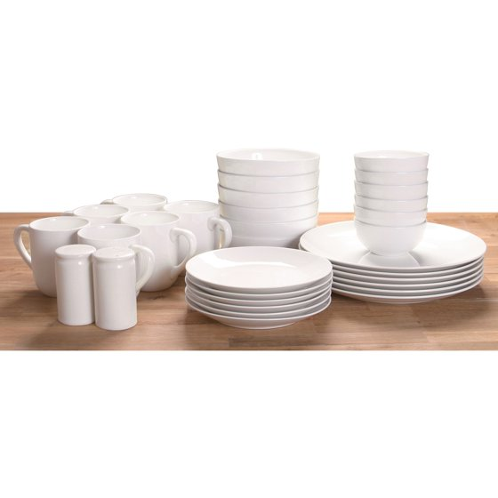 Walmart Housewares: Mainstays 32-piece White Stoneware Dinnerware Set