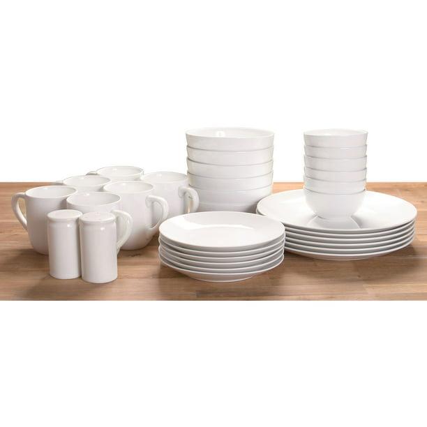 Mainstays White Stoneware Dinnerware Set 32 Piece Walmart Com Walmart Com