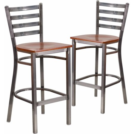 Flash Furniture 2-Pack HERCULES Series Clear Coated Ladder Back Metal Restaurant Barstool, Wood Seat, Multiple Colors ()