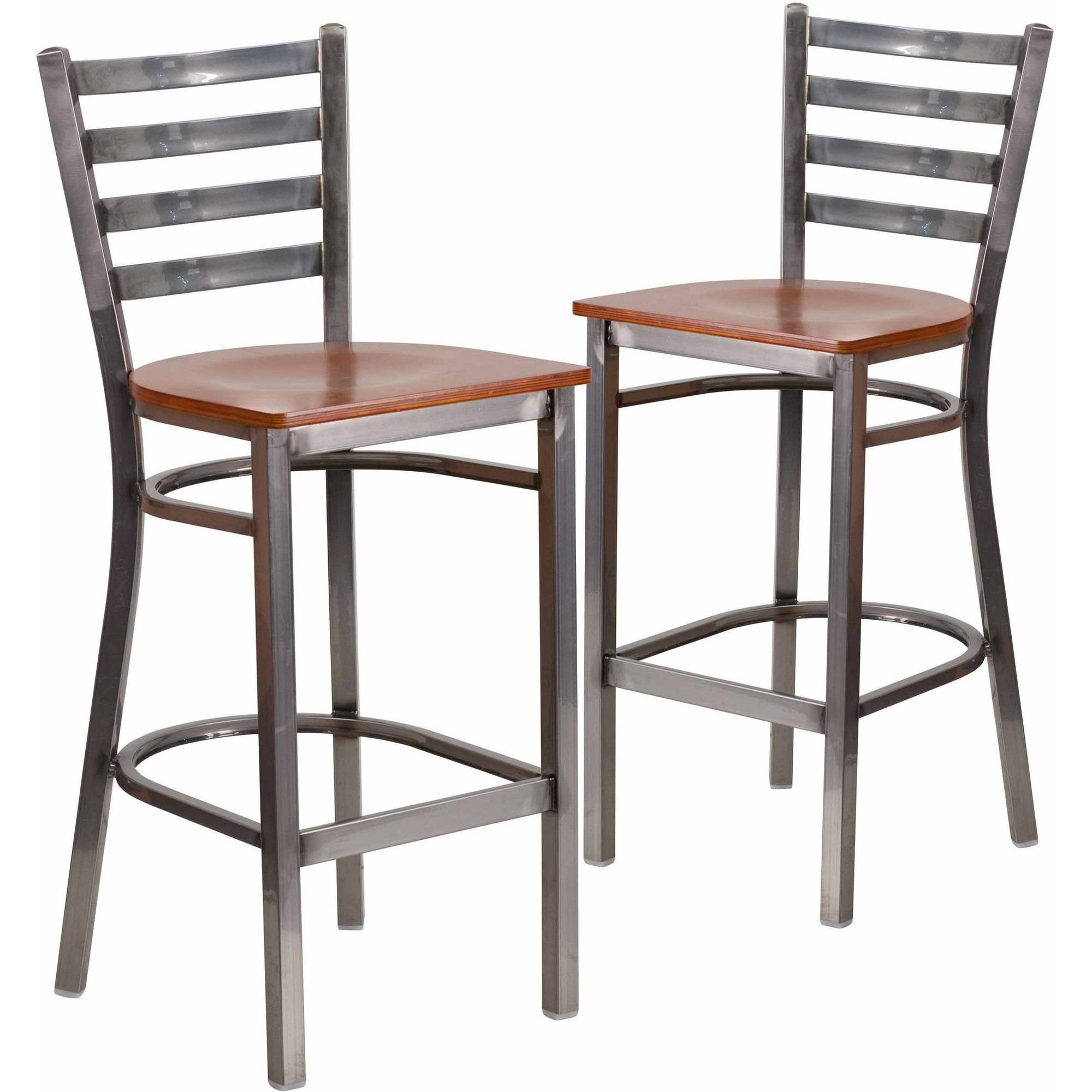 Flash Furniture 2-Pack HERCULES Series Clear Coated Ladder Back Metal Restaurant Barstool, Wood Seat, Multiple Colors
