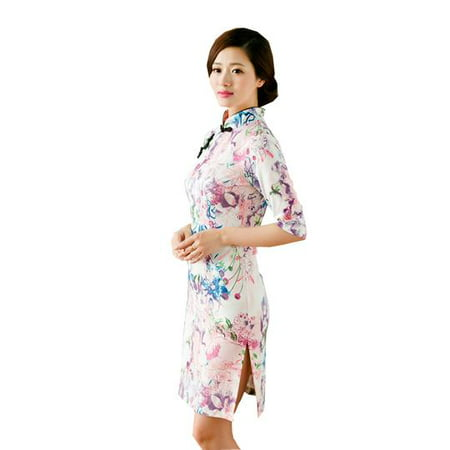 Satin Cheongsam Dress (Women Special 1/2 Long Sleeve Modern Mandarin Chinese Cheongsam Qipao Sheath Short Dress ( Pink flower prints ))