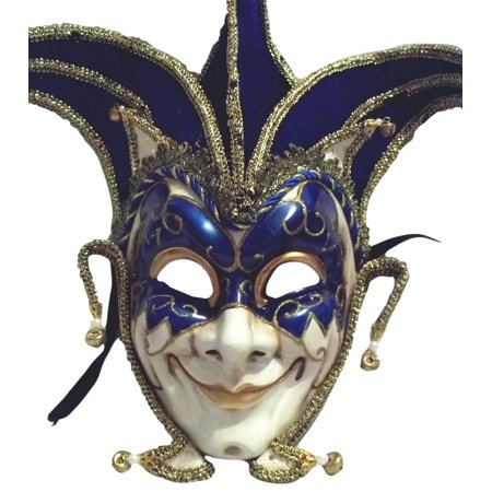 Jester Stick Mask Blue Decorate or Wear Mardi Gras Masquerade Mask Wall Hanging