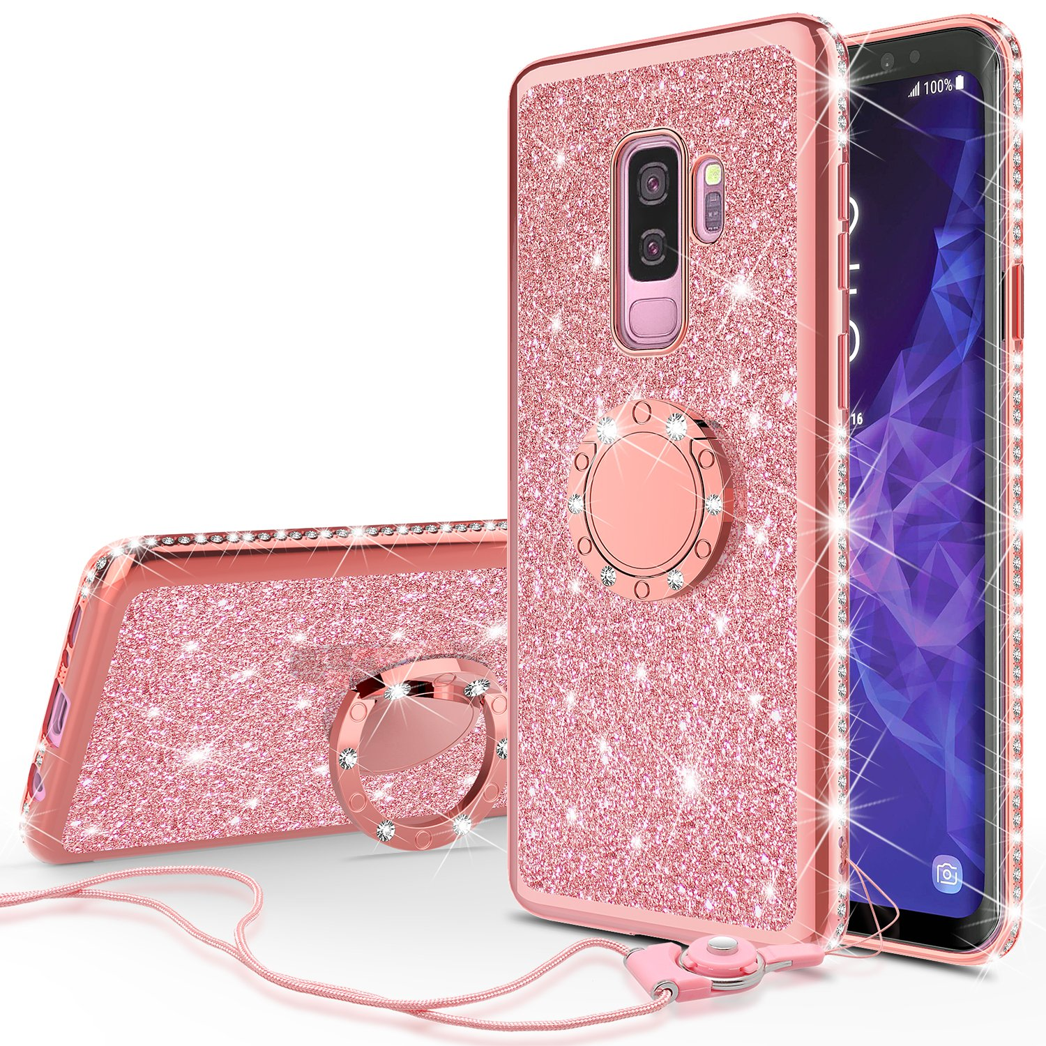 Samsung Galaxy S9 Plus Case, SM-G965U Case, Glitter Bling Rhinestone Crystal Luxury TPU Finger Style Ring Kickstand Cover Cases - Rose Gold