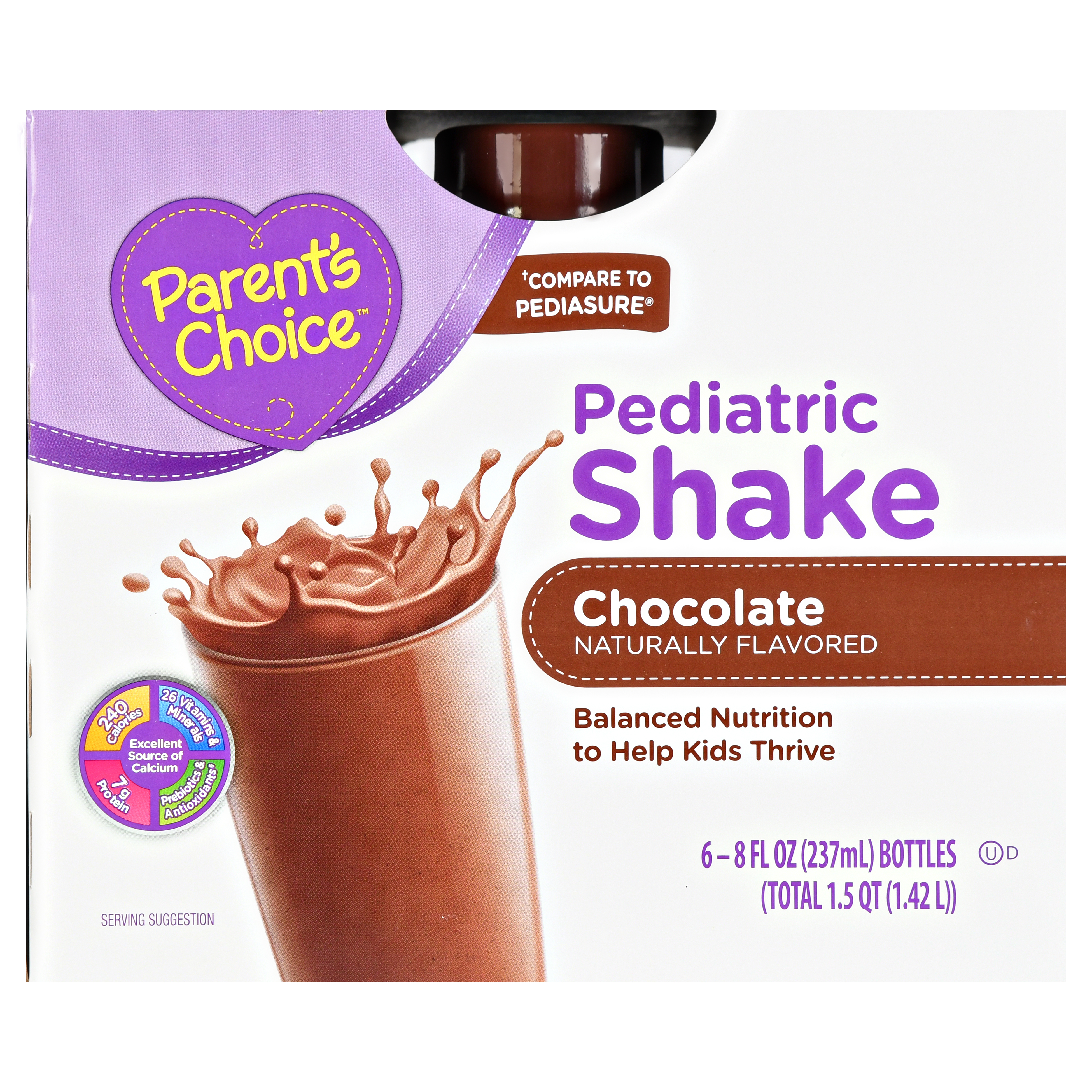 Parent's Choice Pediatric Shake, Chocolate, 48 oz, 6 Count
