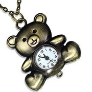 Fashion Alloy Stainless Steel Gold-Tone Teddy Bear Pocket Watch Girls Womens Pendant Necklace