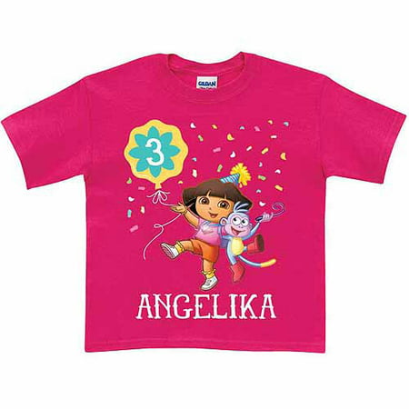 Personalized dora the explorer toddler girl birthday t for Toddler custom t shirts no minimum
