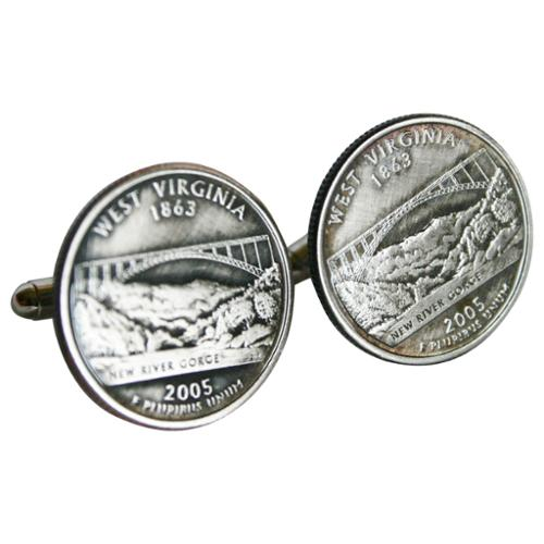 Bouncers Unlimited Handmade Antiqued Silvertone Men's West Virginia State Quarter Cufflinks
