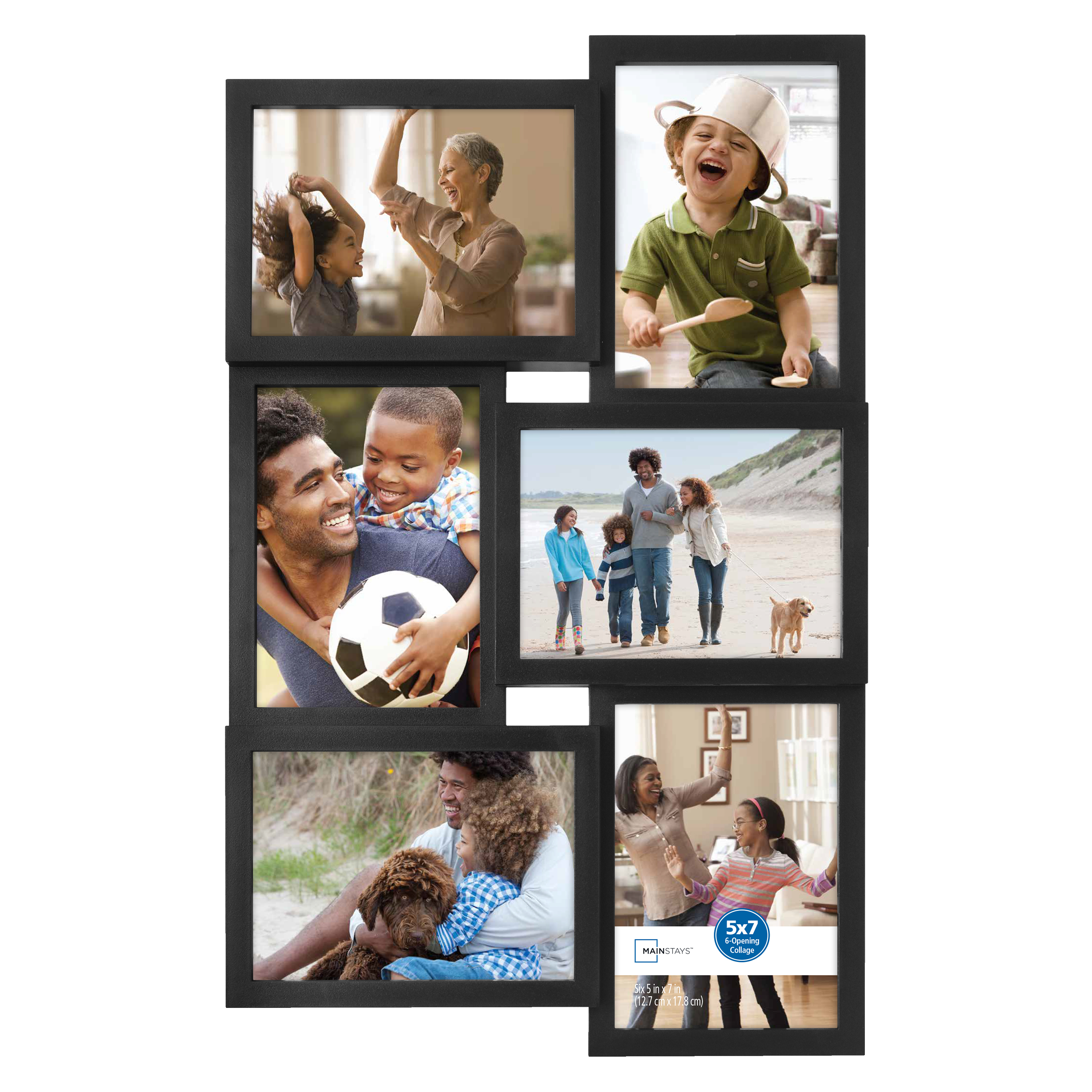 "Mainstays 6-Opening 5"" x 7"" Collage Frame with Glass, Black"
