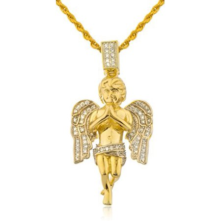 925 Sterling Silver Cherub Angel with CZ Stones and a 24 Inch Rope Chain Neck..
