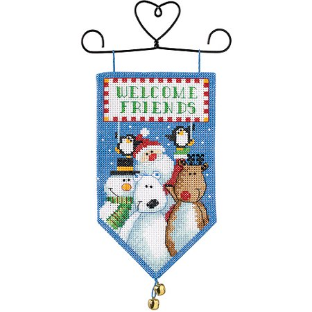 "Dimensions Banners ""Santa and Friends"" Mini Counted Cross Stitch Kit, 10"" Long"