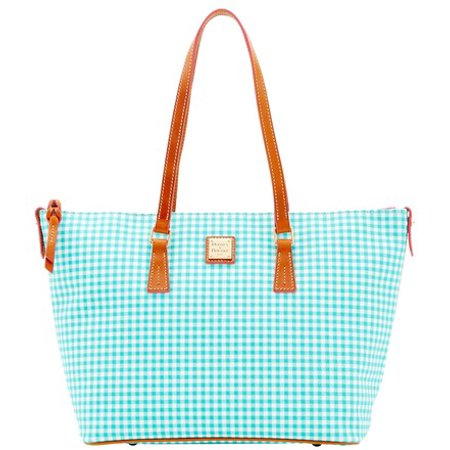 Dooney & Bourke Small Gingham Zip Top Shopper Tote (Dooney And Bourke Double Long Handle Tote)