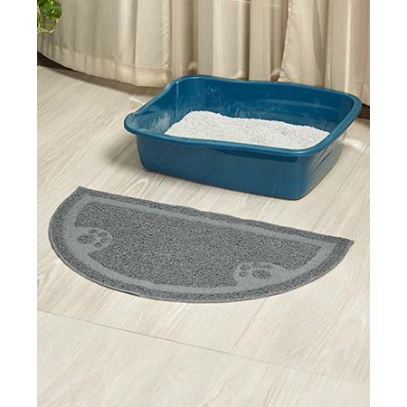 The Lakeside Collection Half Moon Cat Litter Mat Gray