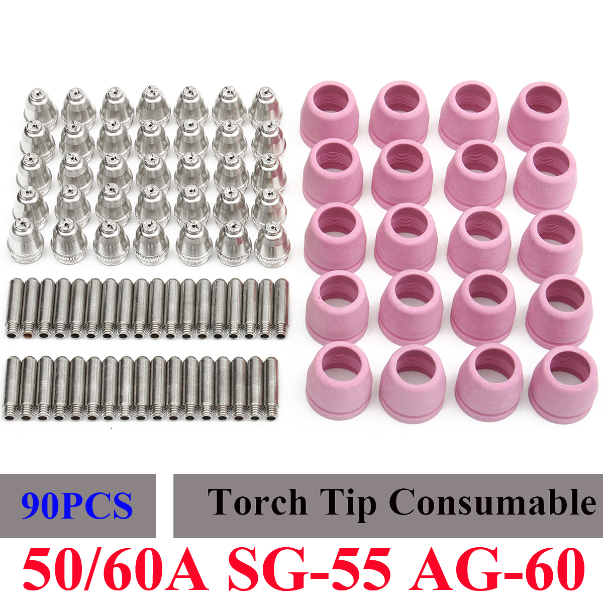 90PCS Plasma Cutter Cutting Torch Consumables Nozzle Electrode Cup For LTP5000D 50A/60A