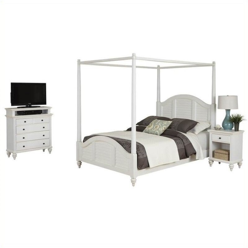 Bowery Hill King Canopy Bed Nightstand and Media Chest White