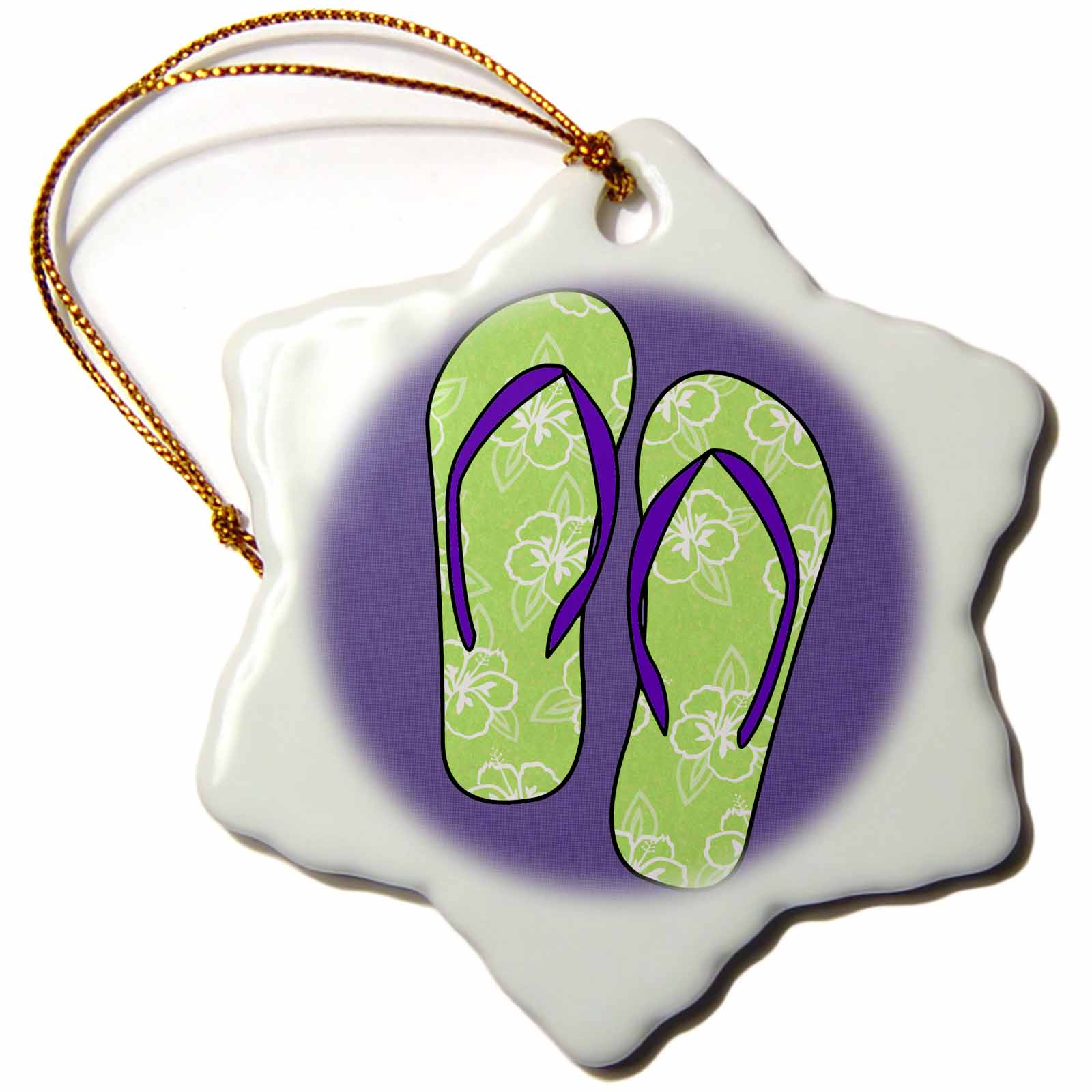 3dRose Cute Flip Flops Lime Green Flower Print and Purple, Snowflake Ornament, Porcelain, 3-inch