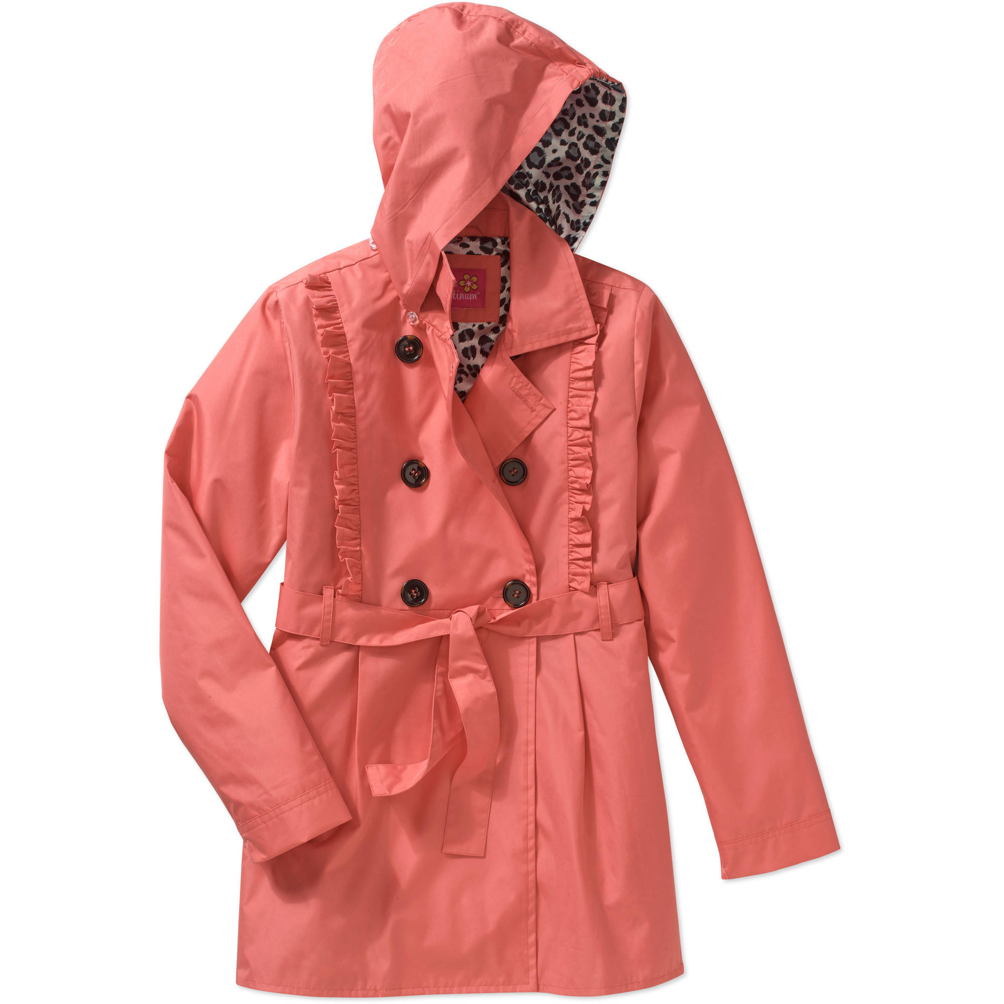 Pink Platinum Girls' Ruffle Trench Coat