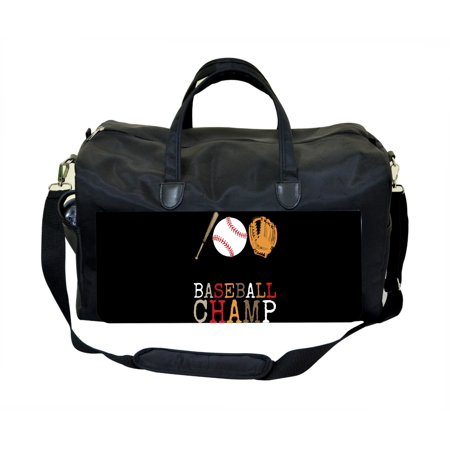 Baseball Champ Large Black Duffel Style Diaper Baby Bag
