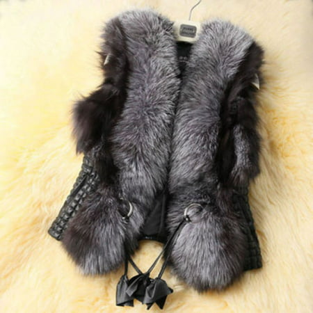 Womens Warm Sleeveless Waistcoat Faux Fur Lapel Thick Top Parka Luxury Casual Vest Fleece Open Front Winter Cardigan Outwear Coat Jacket ()