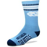 North Carolina Tar Heels For Bare Feet Youth 4-Stripe Deuce Quarter-Length Socks