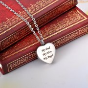 My Dad My Hero My Angel Heart  Cremation Jewelry Memorial Keepsake Ashes Urn Holder Necklace for Friend/Family/Pet
