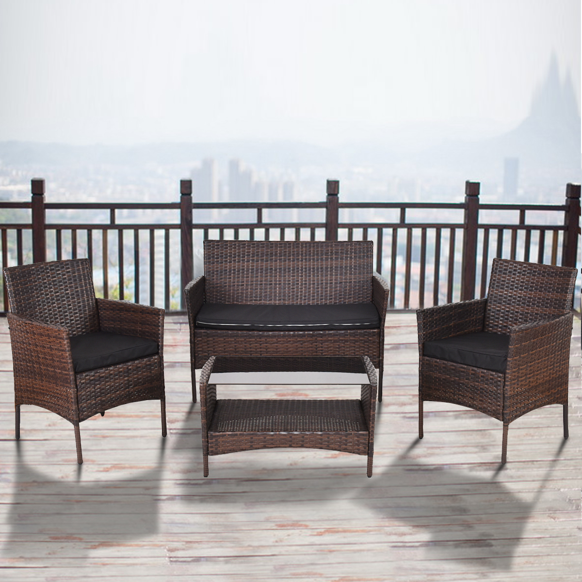 4 PCS Outdoor Patio Rattan Furniture Set Table Shelf Sofa W  Black Cushions New by Supplier Generic