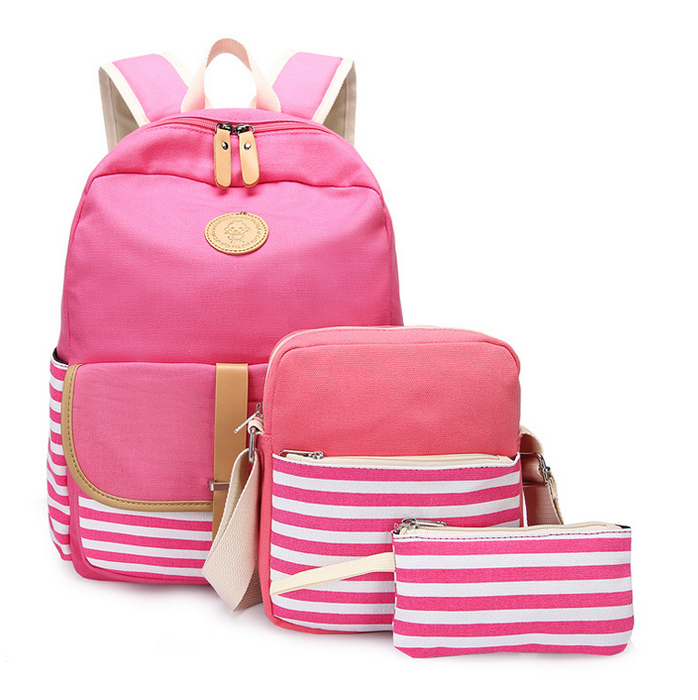 Canvas Bookbags School Backpack Classic Schoolbag for Teens Girls Set 3 Pcs (Pink)
