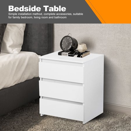 Octpeak White Modern Bedside Table with 3 Storage Drawers for Bedroom Furniture,Nightstand