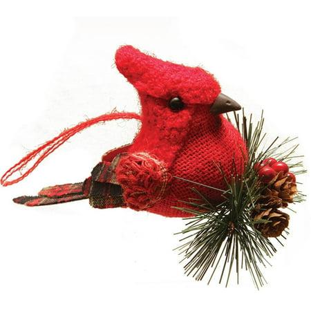 Northlight Seasonal Burlap and Plaid Cardinal on Pine Sprig Christmas Ornament for $<!---->