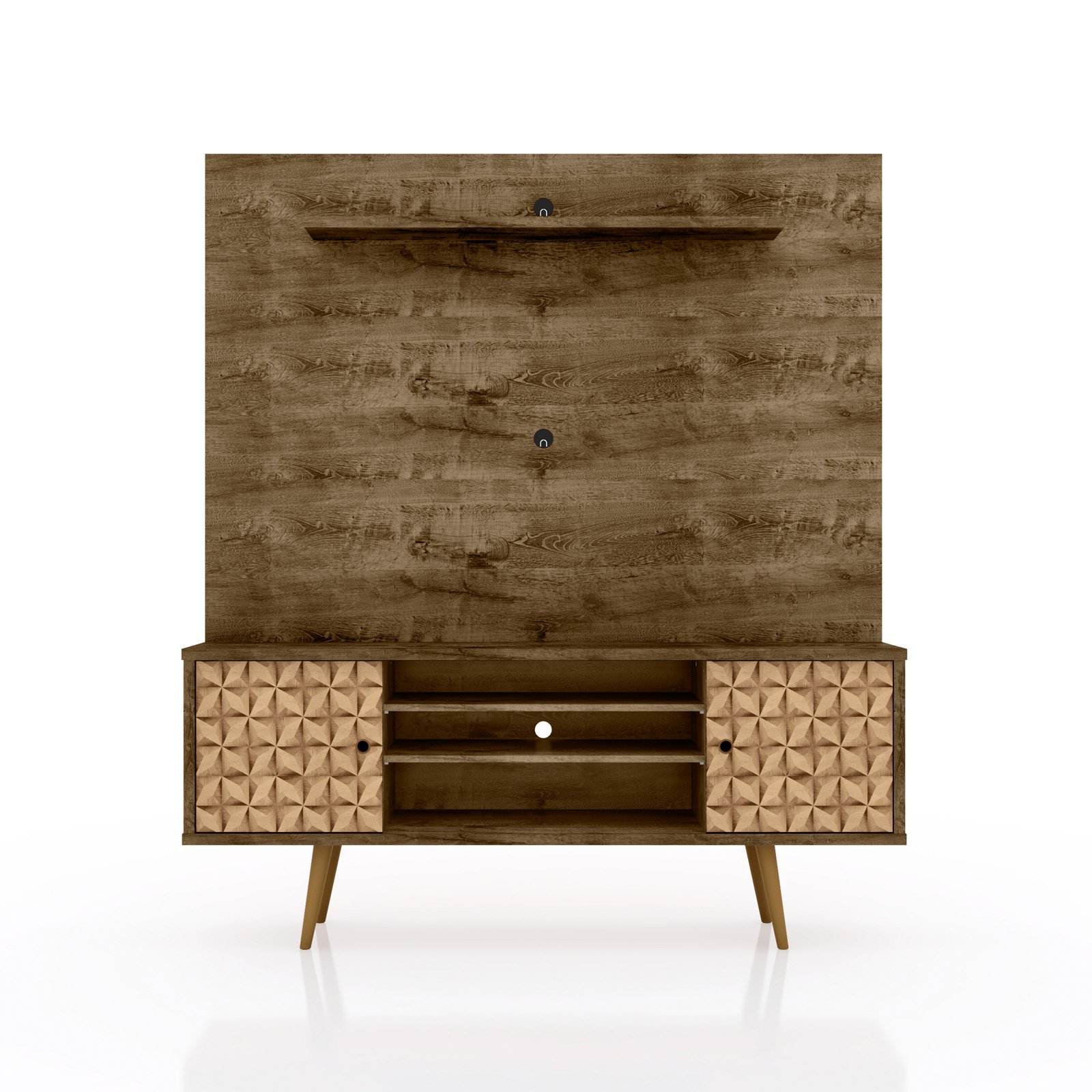 "Liberty 63"" Freestanding Entertainment Center with Overhead shelf in Rustic Brown and 3D Brown Prints"